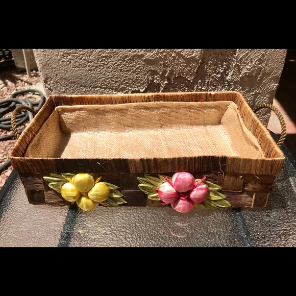Vintage Floral Woven Grass Basket With Handles